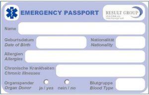 Notfallpass Reisesicherheit Ausland