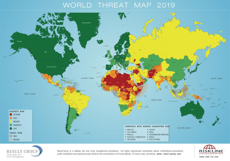 World Threat Map 2019 - Gefahrenkarte Riskmap